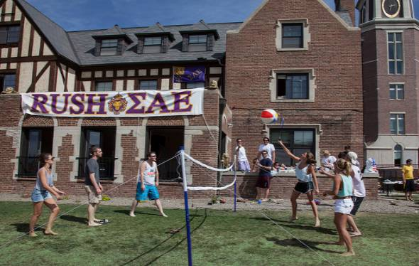 DU students play volleyball during rush week