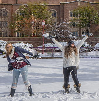 University of Denver students celebrate First Snow.
