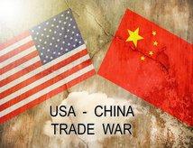 US - China flags, trade war