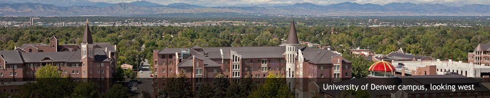 View of Nelson and Nagel Halls, Evans Chapel and the mountains to the west