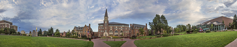 Panoramic photo of the University of Denver Campus
