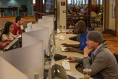 students working at computers in anderson academic commons