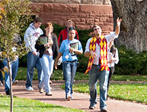 Students walking through the historic DU campus