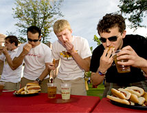 Students participating in an eating contest