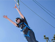 Student going down a zipline