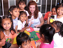 DU student working with children