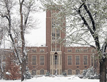 DU campus on a snowy, wintry day