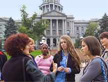 DU students in front of the capital building in downtown Denver