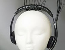 Experiment being conducted with headphones