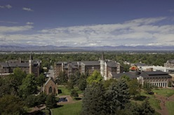 A scenic view of the University of Denver campus
