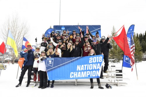DU ski team celebrates winning the 2018 national championship.