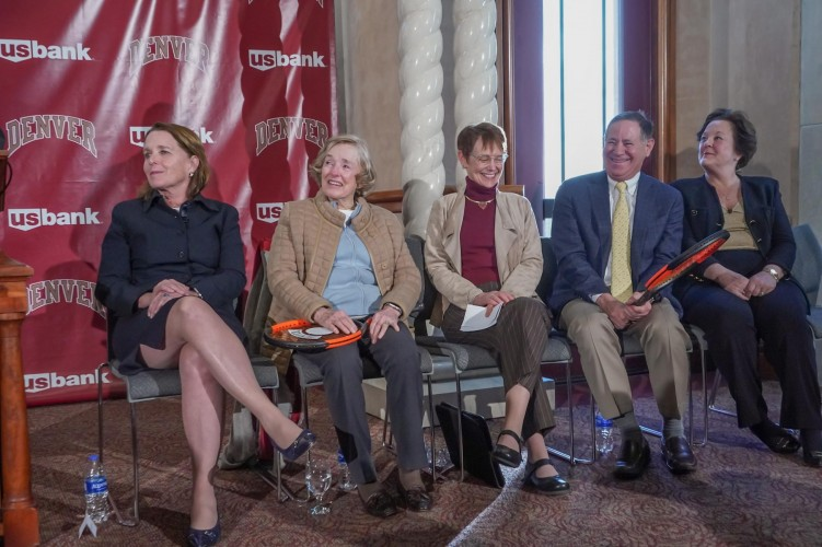 Special ceremony honors the generous gift to help fund the Denver Tennis Park. Pictured (L to R): Cappy Shopneck, Jane Hamilton, Chancellor Rebecca Chopp, Robert Shopneck and Peg Bradley-Doppes.