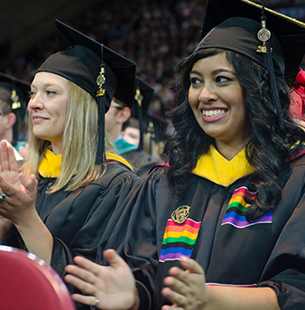 Students attend graduation at the University of Denver.