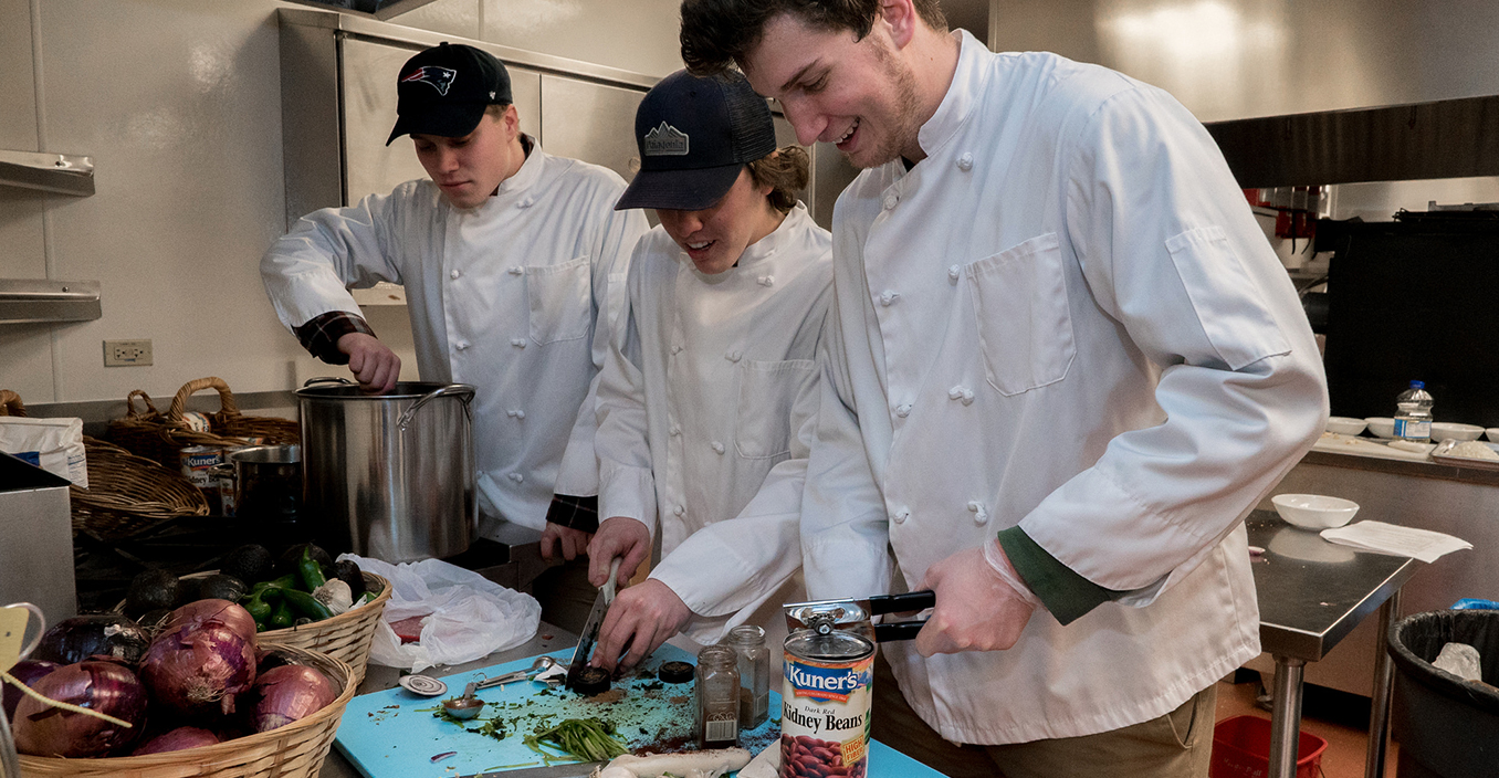 Students participate in a chili cook-off, a mainstay at our annual Winter Carnival.