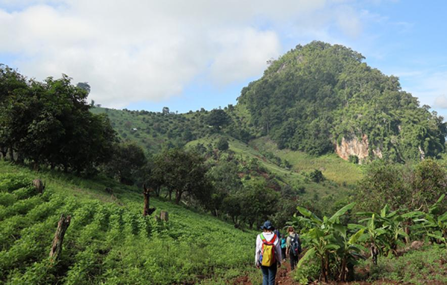 students walking outdoors in study abroad program