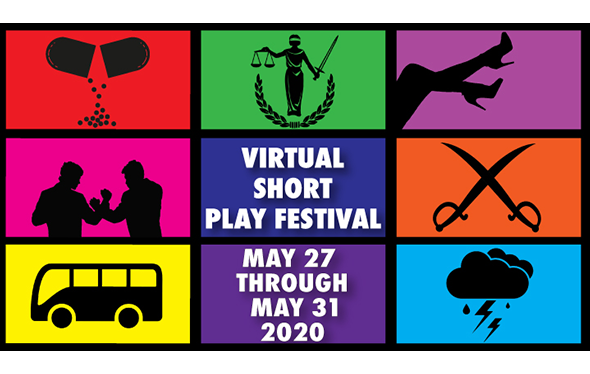 virtual short play festival logo with dates