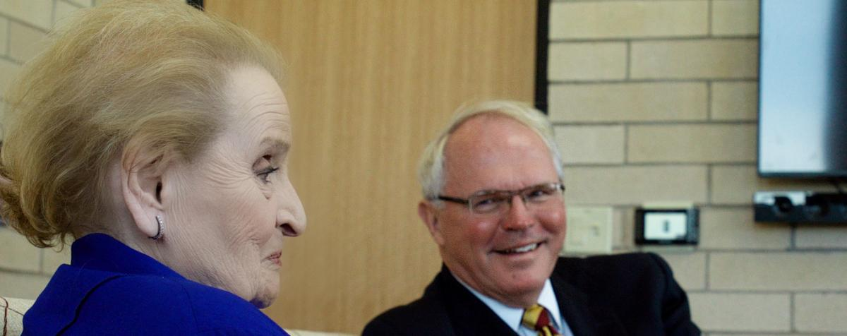 Chris Hill and Madeline Albright