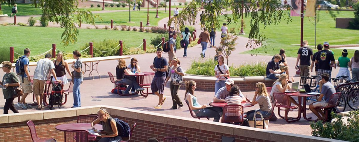 Students sitting on the patio
