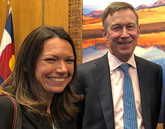 Sue Kerns and Gov. Hickenlooper