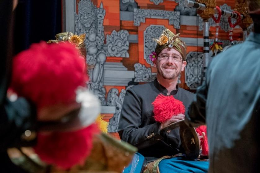 Aaron Paige performs with the gamelan orchestra