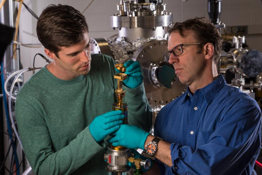 Prof. Barry Zink and Graduate Student Devin Wesenberg Work in the DU Physics Lab