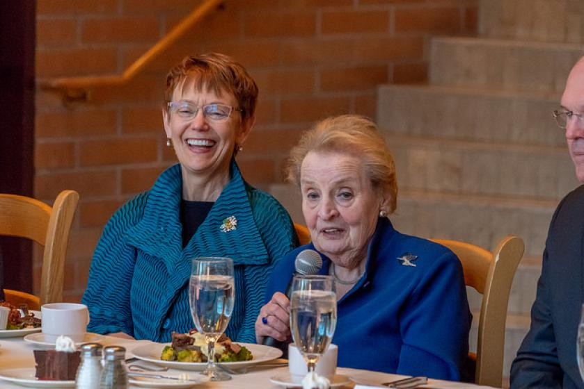 Madeleine Albright Chancellor Rebecca Chopp laughs as former Secretary of State Madeleine Albright tells a story at a luncheon. (Photo: Wayne Armstrong)
