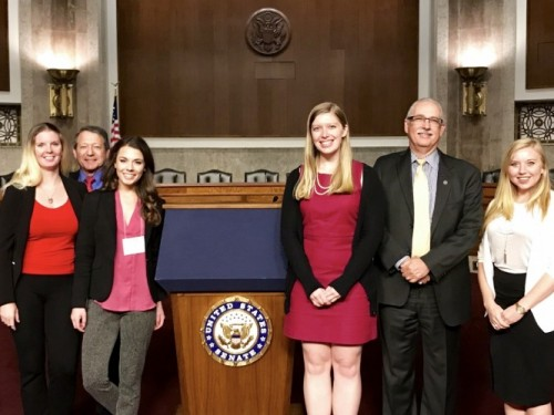 UCAR leadership and winners of the 2017 Capitol Hill Visits Essay Contest in Washington, D.C. From left to right: Jennifer Griswold, Univ. of Hawaii; PACUR representative Joel Widder, co-founder and partner at Federal Science Partners; Rebecca Anderson, Univ. of North Dakota; Abigail Ahlert, CU-Boulder; Tony Busalacchi, UCAR president; Molly Haugen, Univ. of Denver