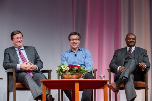 Jim Lentz (left) speaks at a recent event in Denver hosted by the Daniels College of Business