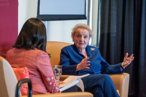 Former Secretary of State Madeleine Albright answers a question from Pardis Mahdavi, acting dean of the Josef Korbel School of International Studies. (Photo: Wayne Armstrong)