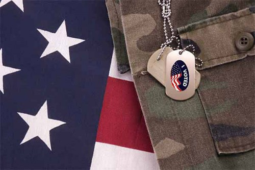"""I voted"" dogtags, camo and American flag"
