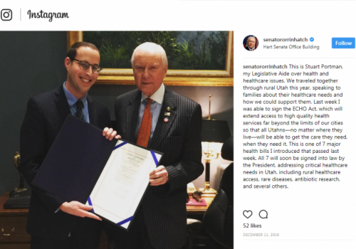 In a post from Hatch's Instagram account, Portman stands with the senator after passing a piece of legislation.