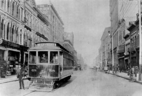 A streetcar operates along Denver's Larimer Street. Photo Courtesy: Denver Public Library