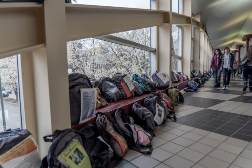 More than 1,000 backpacks are displayed in the Driscoll Student Center representing college students lost to suicide.