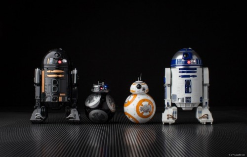 Sphero produces four different Star Wars droids (left to right): R2-Q5, BB-9E, BB-8 and R2-D2.
