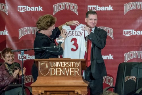 Bradley-Doppes introduces new women's basketball coach Jim Turgeon on March 28, 2016. Photo courtesy: Wayne Armstrong, University of Denver.