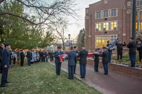 Veterans Day flag ceremony at DU