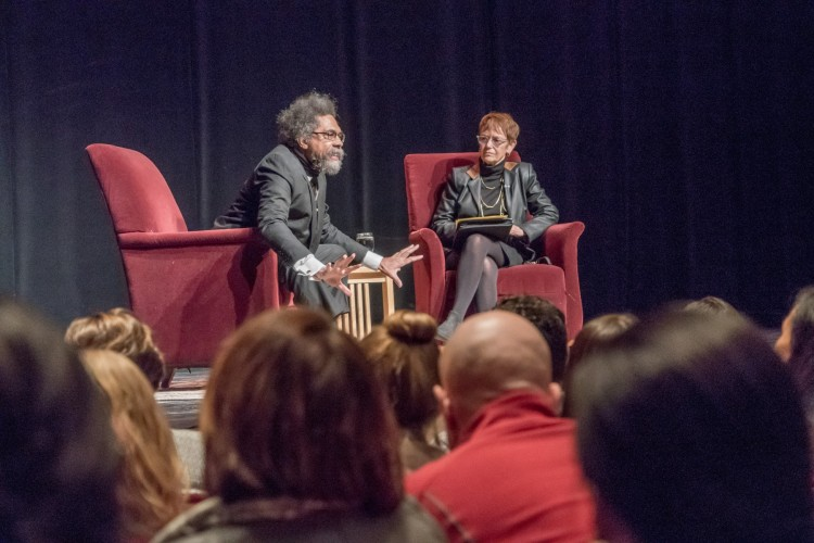Dr. Cornel West and Chancellor Rebecca Chopp host an hour-long discussion at the Newman Center on Jan. 11.