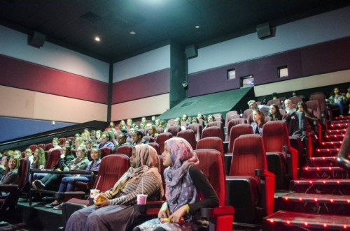 students watching movie