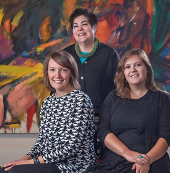 "Gwen Chanzit and two DU alumnae at the ""Women of Abstract Expressionism"