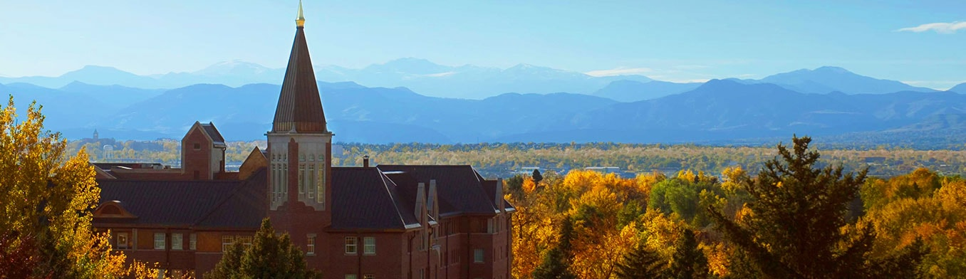 University of Denver campus with Rocky Mountains