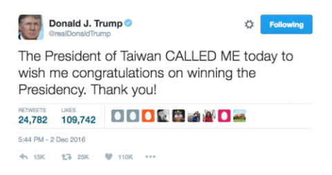 Donald J. Trump on Twitter: The President of Taiwan CALLED ME today to wish me congratulations on winning the Presidency. Thank you!