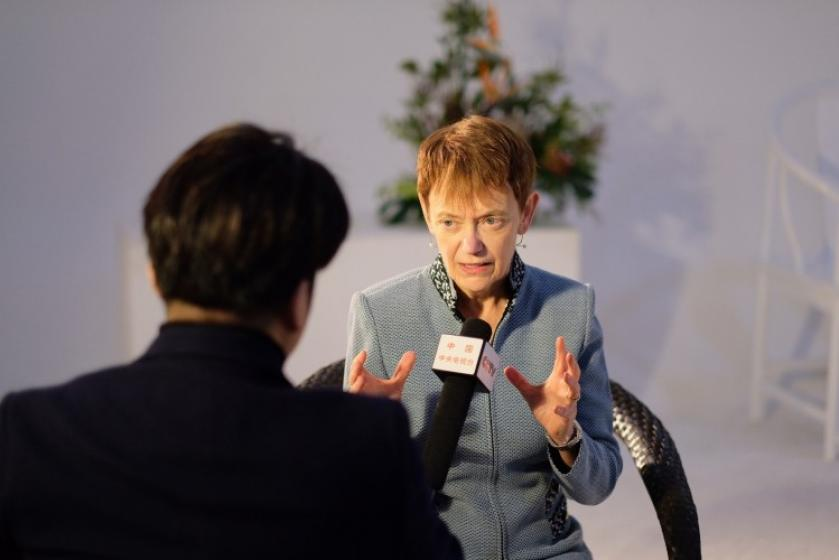 Beijing Trip: TV Interview Chancellor Rebecca Chopp is interviewed by CCTV in China in December.