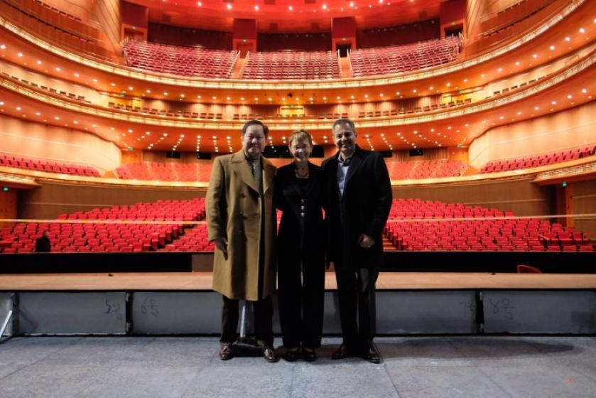 Beijing Trip: Inside the Opera House From left: Dennis Law, Chancellor Rebecca Chopp and Vice Chancellor of Advancement Armin Afsahi