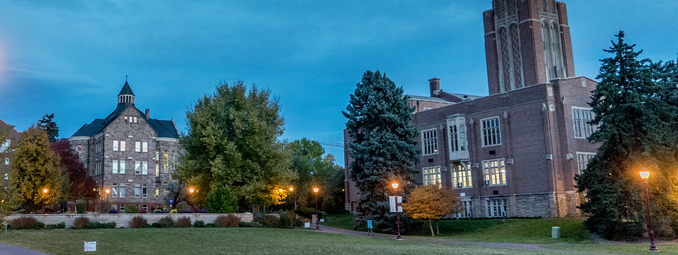 university hall at night
